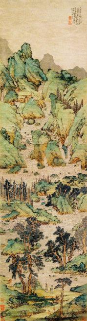 16세기 명나라 화가 문징명의  청록산수화 '만학쟁류도'. [사진 제공 · 난징박물관]
