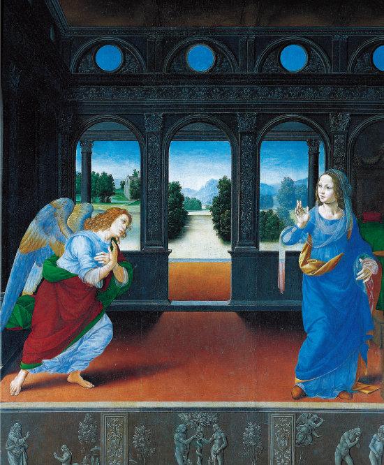 로렌초 디 크레디의 '수태고지'(1495~1500년 무렵). 성모마리아와 천사 가브리엘이 모두 청색 의상을 입고 있다.  [사진 제공 · 민음사]