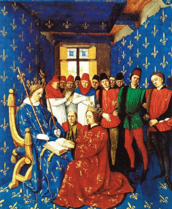 장 푸케, '잉글랜드 왕 에드워드 1세가 프랑스 왕 필리프 4세에게 충성 서약을 올리는 장면'(1460년 무렵). 프랑스 왕이 청색 바탕에 백학 무늬 의상을 입은 반면, 무릎을 꿇은 영국왕은 붉은 의상을 입고 있다. [사진 제공 · 민음사]