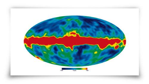 코비위성으로 관측한 우주배경복사. [NASA]