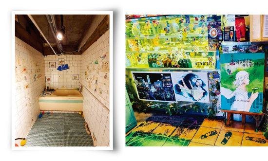 목욕탕 구조물을 최대한 살린 '문화장'의 아틀리에(왼쪽). 아티스틱한 분위기의 '문화장'. [사진 제공 · 문화장]