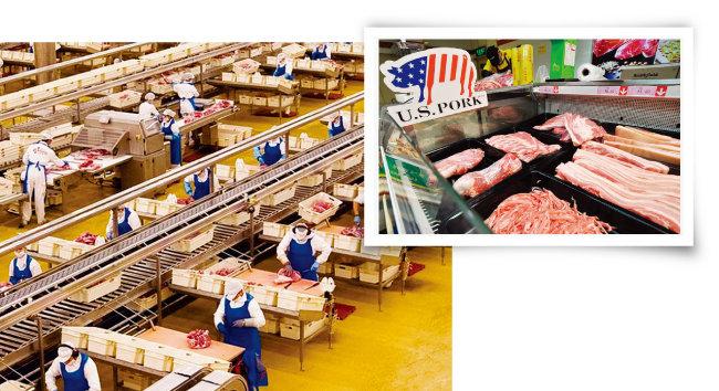 스페인 육류가공회사 엘포조의 직원들이 중국으로 수출할 돼지고기를 포장하고 있다(왼쪽). 중국에 수출된 미국산 돼지고기가 진열된 모습. [사진 제공·엘또조, VCG]