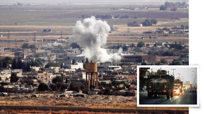 터키가 시리아 북부를 폭격하는 모습(왼쪽)과 시리아로 향하는 터키군 차량. [뉴시스]