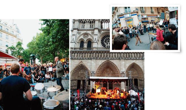 1982년부터 매년 6월 말 프랑스 전역에서 열리는  '페트 델 라 뮤지크'의 다양한 공연 현장들. [사진 제공 · 김작가, 뉴시스]
