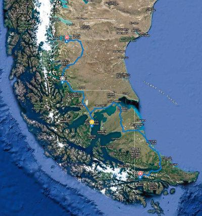 파타고니아 여행 거점 도시들. 위부터 엘칼라파테(아르헨티나), 푸에르토 나탈레스(칠레), 푼타아레나스(칠레), 우수아이아(아르헨티나).