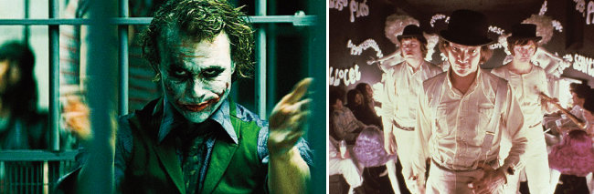 영화 '다크 나이트'(2008)의 조커(히스 레저 분·왼쪽), 영화 '시계태엽 오렌지'(1971)의 알렉스 드 라지(맬컴 맥다월 분). [사진 제공 · 워너 브라더스 코리아, IMdB]