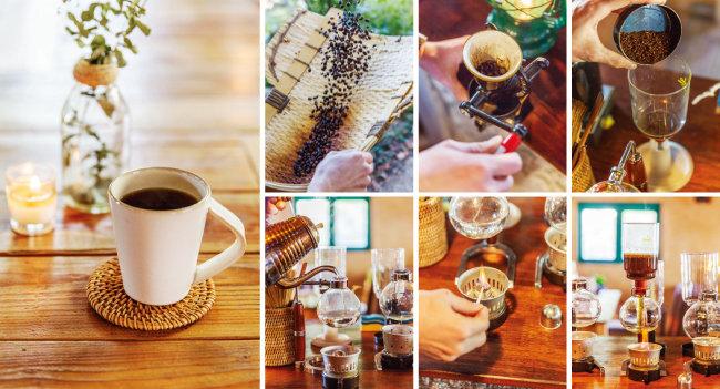 인기 메뉴인 '사이폰 커피'(왼쪽)와 사이폰 커피 제조 과정. [김도균]