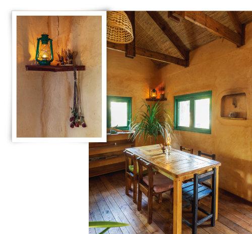 조명 역할을 하는 램프(왼쪽)와 직접 만든 원목 테이블, 의자로 실내를 꾸몄다. [김도균]