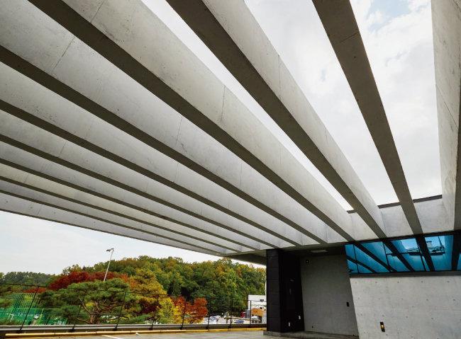 복싱훈련장 옥상계단의 캐노피 구조물. 수영장 천정의 콘크리트 루버를 연상시킨다.