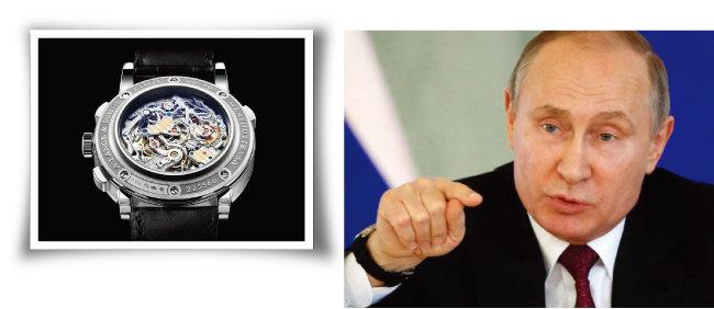 블라디미르 푸틴 러시아 대통령(오른쪽)이 즐겨 차는 독일 명품 시계 브랜드 '랑에 운트 죄네'. [랑에 운트 죄네 홈페이지, gettyimages]
