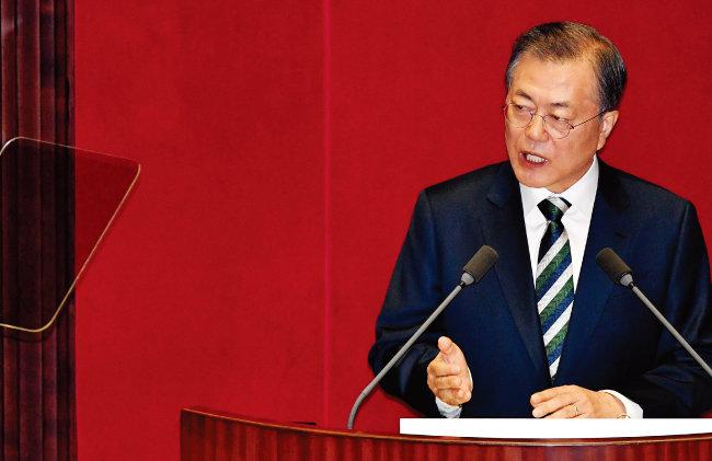 10월 22일 문재인 대통령이 국회 시정연설에서 2020년 예산안에 대해 설명 하고 있다. [안철민 동아일보 기자]