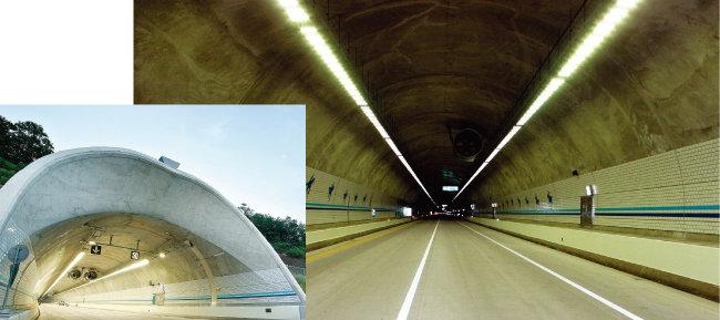 2015년 6월 주변 환경에 따라 밝기를 자동으로 조절하는 'LED 디밍제어 시스템'이 충북 음성-제천 고속도로 가로등과 터널 내 등에 첫 적용됐다(왼쪽). 2018년 LED 조명으로 교체된 평택-제천 고속도로 산척3터널. [사진 제공 ·한국도로공사]