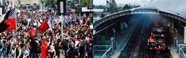 칠레 산티아고 시민들이 지하철 요금 인상에 반대하며 시위하고 있다(왼쪽). 산티아고 한 지하철역에서 불에 타고 있는 전동차. [prensenza, Periodico El Progreso]