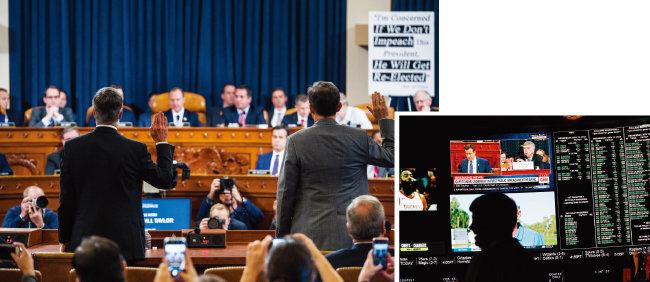 윌리엄 테일러 주우크라이나 미국대사 대행(왼쪽)과 조지 켄트 국무부 유럽·유라시아 담당 부차관보가 11월 13일(현지시각) 열린 공개청문회에서 증인 선서를 하고 있다(왼쪽). 미국 한 호텔에서 도널드 트럼프 대통령에 대한  하원의 탄핵 조사 공개청문회가 TV를 통해 중계되고 있다. [AP=뉴시스]