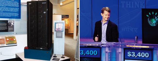 미국 캘리포니아주 샌프란시스코 컴퓨터역사박물관에 소장된 IBM의 컴퓨터 딥 블루(왼쪽). 미국 TV 퀴즈쇼 '제퍼디!'에서 IBM의 컴퓨터 왓슨과 퀴즈대결을 펼친 이 퀴즈쇼 최다 연승자 켄 제닝스. [위키피디아, gettyimages]