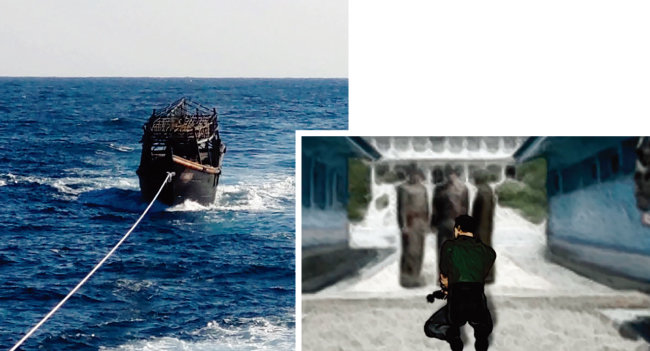 정부는 북한 선원 2명을 추방한 후 이들이 타고 왔던 어선도 예인해 북한 측에 돌려줬다(왼쪽). 안대를 하고 포박된 채 판문점까지 가 강제 추방된 북한 선원들은 북한 군인을 보자 너무 놀라 털썩 주저앉았다고 한다. 한국 정부는 '북한이탈주민법'을 적용해 이들을 추방했다. [사진 제공 · 통일부, 채널A 방송 캡처]