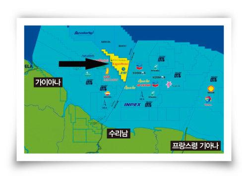가이아나의 심해유전 추정 매장지 지도. [엑슨모빌]