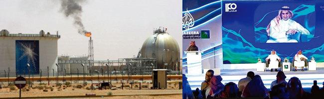 사우디아라비아 국영석유회사 아람코가 소유한 유전에서 불이 뿜어져 나오고 있다(왼쪽). 야시르 알루마이얀 아람코 회장이 기업공개(IPO) 계획을 설명하고 있다. [MEED, 알자지라방송]
