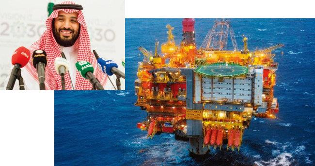 사우디아라비아의 실세인 무함마드 빈 살만 압둘아지즈 알사우드 왕세자가 '비전2030' 계획을 설명하고 있다(위).  노르웨이 국영석유회사가 심해유전에서 원유를 퍼 올리고 있다. [spa, Eqinor ASA]