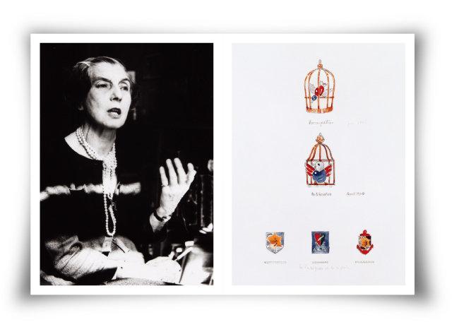 인터뷰를 하고 있는  쟌느 투상(1950년대·왼쪽).  쟌느 투상이 구상한 '새장에 갇힌 새'와 '자유를 되찾은 새'  브로치 디자인 도안. [Archives Cartier © Cartier]
