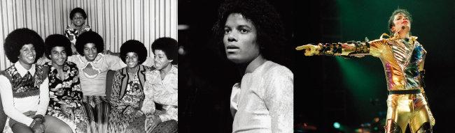 1972년 잭슨파이브 시절의 마이클 잭슨(앞줄 오른쪽에서 두 번째)과 1979년 'Off the Wall' 앨범 발표 당시 잭슨, 1996년 'History' 월드 투어 콘서트 당시 잭슨(왼쪽부터). [GettyImages]