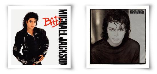 마이클잭슨의 'Bad'(1987) 앨범(위)과,그 수록곡의 싱글 앨범인 'man in the mirror'(1988).