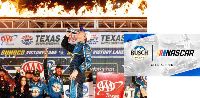 11월 3일 미국 텍사스에서 열린 나스카 경주 우승을 축하하는 장면(왼쪽)과 나스카 대회 후원을 알리는 맥주 광고. [gettyimages]