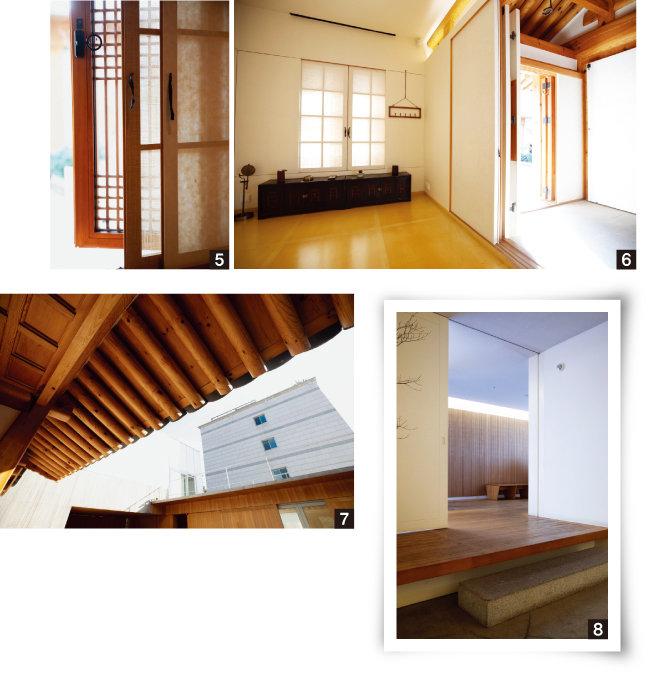 5 유리창, 삼베창, 한지창의 3중창으로 이뤄진 한옥의 창호.  6 조선시대 한양 가옥의 원형을 보여주는 공간. 7 2층 한옥의 처마. 8 사무동과 연결되는 곳에도 한옥의 섬돌을 설치한 센스가 돋보인다.