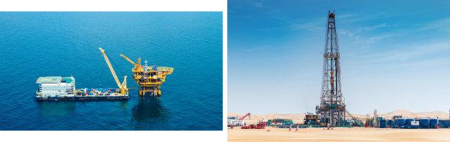 한국석유공사가 자원개발 사업을 벌이고 있는 베트남 15-1광구(위)와 아랍에미리트 할리바 유전. [사진 제공·한국석유공사]