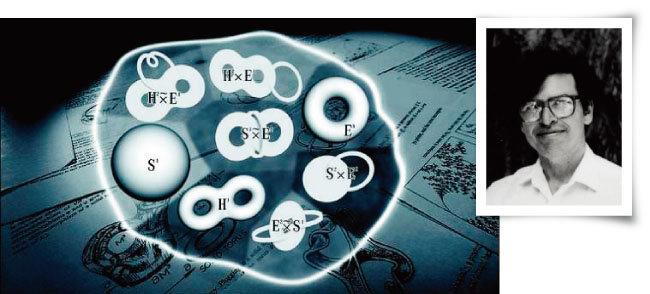 3차원 공간에서 위상동형이 아닌 8가지 형태를 축출한 기하화 추측(왼쪽)과 이를 선별해낸 미국 수학자 윌리엄 서스턴. [EBS 화면 캡처, MFO_Mathematisches Forschungsinstitut]