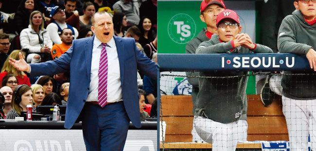 시카고 불스 시절 톰 티보도 감독(왼쪽). 염경엽 SK 와이번스 감독. [AP=뉴시스, 뉴스1]