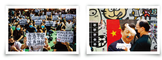 홍콩 학생들이 경찰의 총기 사용에 항의하며 연좌시위를 하고 있다(왼쪽). 홍콩 한 시민이 시진핑 중국 국가주석의 포스터에 달걀을 던지고 있다. [HKFP]