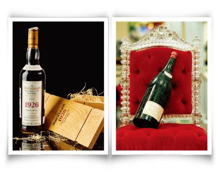 세상에서 가장 비싼 위스키인 스코틀랜드의 '맥캘란 파인 앤드 레어 1926' 60년산(왼쪽)과현존하는 최고가 와인 '로마네 콩티 1945년산'. [©Sotheby's, gettyimages]