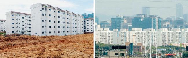 경기 과천 재개발 아파트 단지(왼쪽)와 광명시 아파트 단지. [뉴시스]