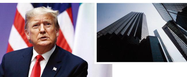 도널드 트럼프 미국 대통령(왼쪽)과 뉴욕 5번가의 트럼프타워. [AP=뉴시스]