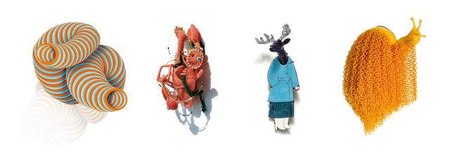 (왼쪽부터)김한나, 'Mistake of retus', 2019, 플라스틱, 925실버, 90×80×55mm. | 오화진, '반려요정', 2019, 모직물, 솜, 비즈, 100×150×40mm. | 이나진, '20세기 소녀', 2019, 적동, 칠모, 철, PVC, 53×110×27mm. | 정령재, '달팽이', 2018, 폴리아미드, 은, 100×160×60mm.
