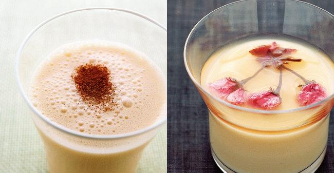 쌀요구르트는 과일을 곁들이거나 과일과 함께 갈아 먹어도 맛있다(왼쪽). 쌀요구르트는 달고 부드러운 디저트를 만들 때 사용해도 좋다.
