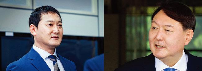 JTBC 드라마 '보좌관2'의 최경철(정만식 분) 서울중앙지검장(왼쪽)과 윤석열 검찰총장. [사진 제공 · jtbc, 동아DB]