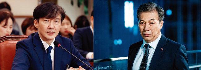 조국 전 법무부 장관(왼쪽)과 JTBC 드라마 '보좌관2'의 송희섭(김갑수 분) 법무부 장관. [뉴시스, 사진 제공 · jtbc]