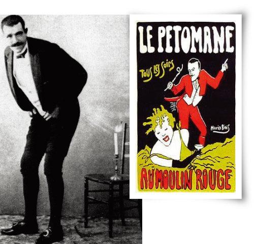 19세기말 프랑스의 방귀예술가 조제프 퓌졸(왼쪽)과 그의 공연 포스터. '르 페토만(Le Petomane)'은 '방귀광'이라는 뜻의 합성어로 그의 예명이었다. [위키피디아]