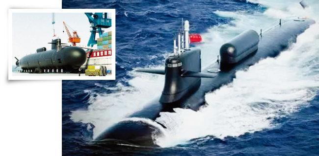 중국이 최신예 공격형 핵잠수함(SSN)인 쑤이급(095형) 핵잠수함을 건조하고 있다(왼쪽). 중국의 쑤이급(095형) 핵잠수함. [clubchina.com, 환구시보]