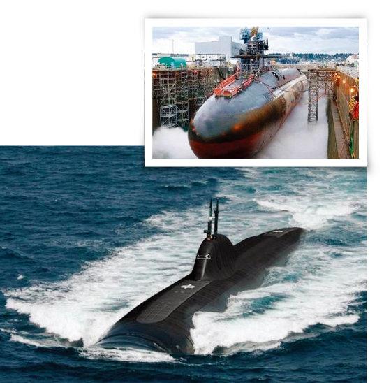 중국이 최신예 전략원잠(SSBN)인 탕급(096형) 핵잠수함을 건조하고 있는 모습(위). 중국의 탕급(096형) 핵잠수함. [중국군망, 환구시보]