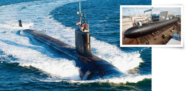 미국의 최신예 버지니아급 공격형 핵잠수함(SSN)  미시시호가 항해하고 있다(왼쪽). 미국이 버지니아급 핵잠수함을 건조하고 있는 모습. [미국 해군]