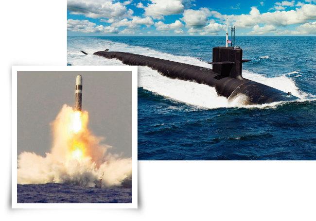 미국이 내년 건조에 착수할 최신예 SSBN인 컬럼비아급 핵잠수함의 조감도(오른쪽). 미국이 잠수함 발사탄도미사일(SLBM)인 트라이던트II D-5 미사일을 시험발사하고 있다. [미국 해군]