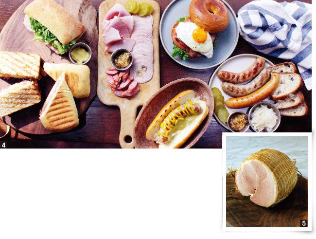 4 소시지와 햄으로 차린 다양한 보드. 5 돼지 뒷다리살로 만든 햄. [사진 제공·미트로칼]