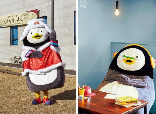 정관장 광고 모델로 나선 펭수(왼쪽)와 펭수의 '대학내일' 화보. [사진 제공 · KGC인삼공사, 사진 제공 · 대학내일]