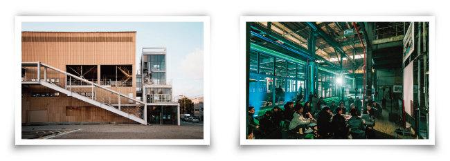 화학공장을 개조해 문화예술공간으로 탈바꿈한 '코스모40'(왼쪽)과 1, 2층 공간에서 펼쳐진 미디어아트 공연. [사진 제공 · 코스모40]