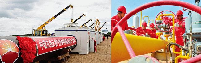 중국이 러시아산 가스를 운반할 파이프라인을 건설하고 있다(왼쪽). 중국석유천연가스 집단공사(CNCP) 기술자들이 가스관을 점검하고 있다. [VCG, China Daily]