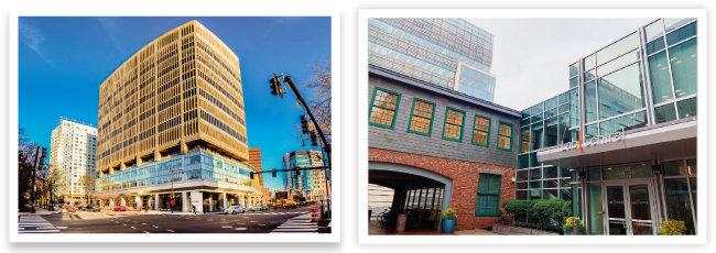 매사추세츠주 케임브리지 켄들 스퀘어에 위치한 케임브리지 이노베이션 센터(CIC)(왼쪽). 미국 매사추세츠주 케임브리지 켄들 스퀘어에 있는 랩 센트럴은 바이오의료 분야 스타트업에 실험실과 연구공간 등을 제공하는 일종의 공유 연구개발(R&D)센터다. [사진 제공 · CIC, 사진 제공 · 한국제약바이오협회]