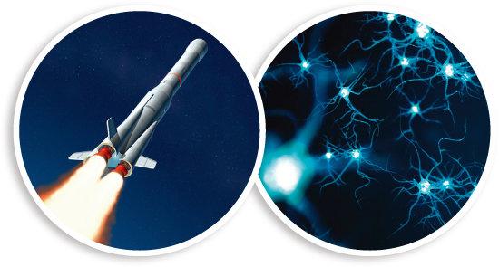 로켓 내부의 시간은 외부 관찰자보다 느리게 흐른다(왼쪽). 시간의 흐름이 다르게 느껴지는 것은 뇌의 신경전달물질  분비 때문이다. [GettyImages]